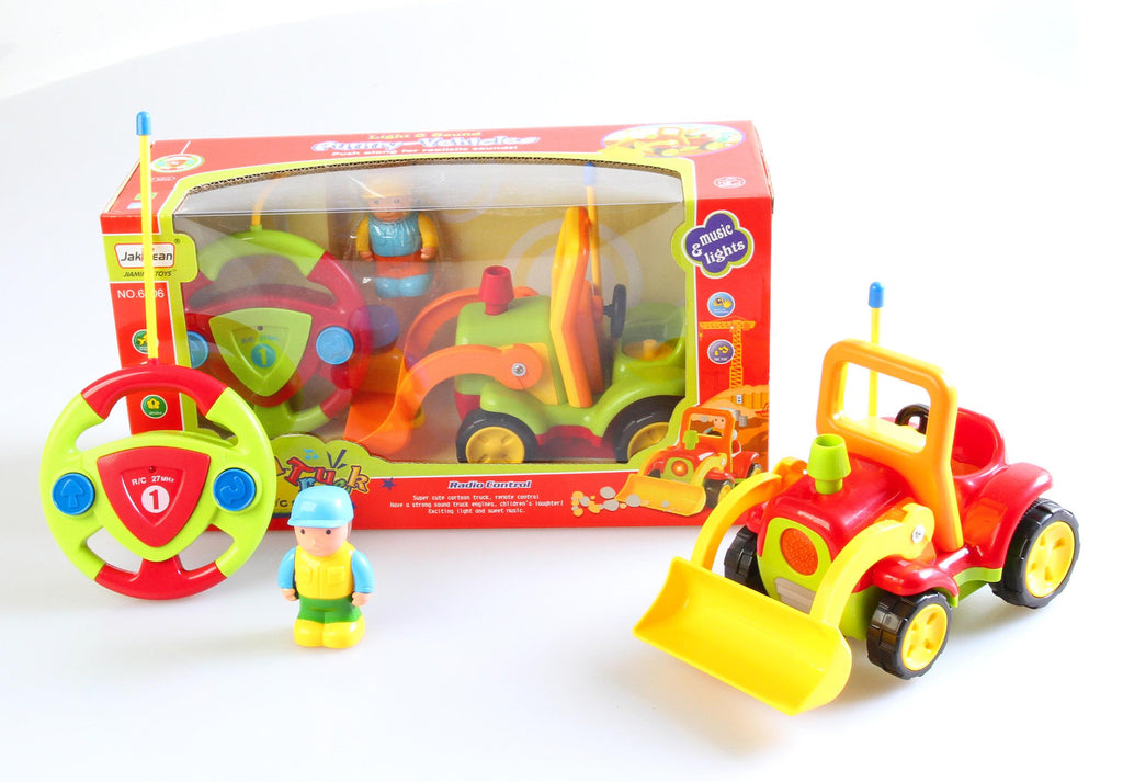 "4"" Cartoon R-C Construction Truck Toy for Toddlers (Red)"