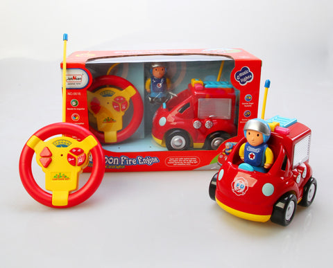 "4"" Cartoon R-C Fire Engine Truck Toy for Toddlers"