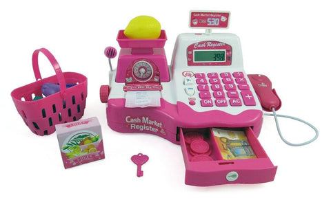 "12"" Pink Supermarket Cash Register With Checkout Scanner"