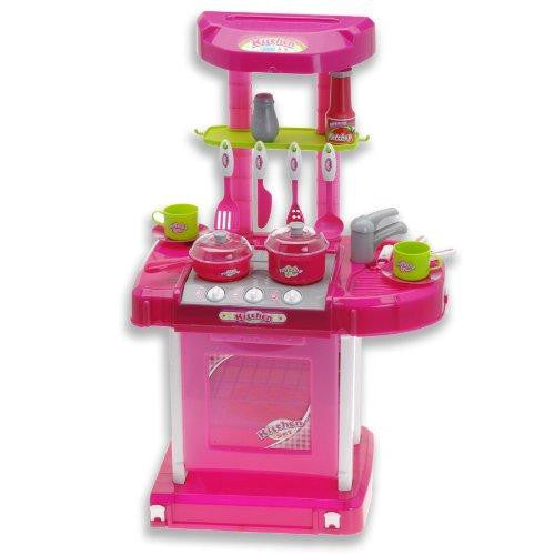 "26"" Portable Kitchen Appliance Oven Cooking Play Set With Lights & Sound (Pink) TF858"