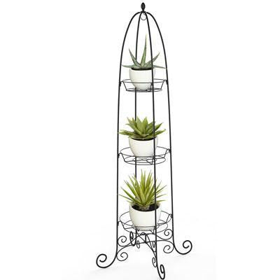 3 Tier Finial Plant Stand Blk