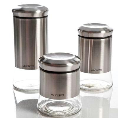 3 PC Silver Canister Set