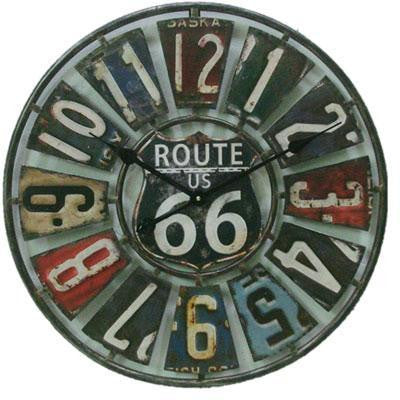 "22"" Route 66 Metal Clock Wllic"