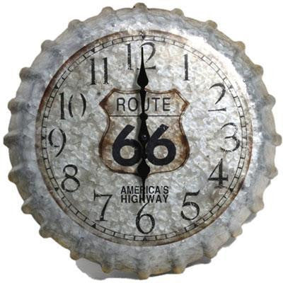 "14.2"" Metal Clock Rt 66 Cap"