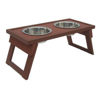 Dog Bowl Double Raised Med Rus