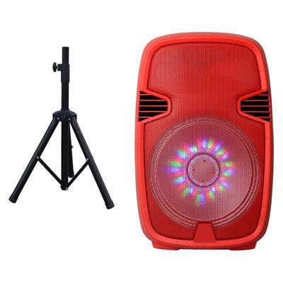 "15"" Prtbl Bluetooth DJ Speaker With Stnd Rd"