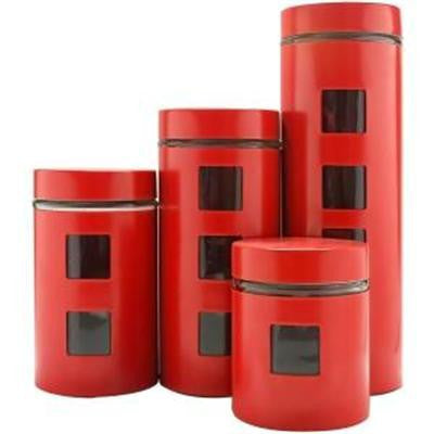 Pl 4pc Canister Set W/glass Rd
