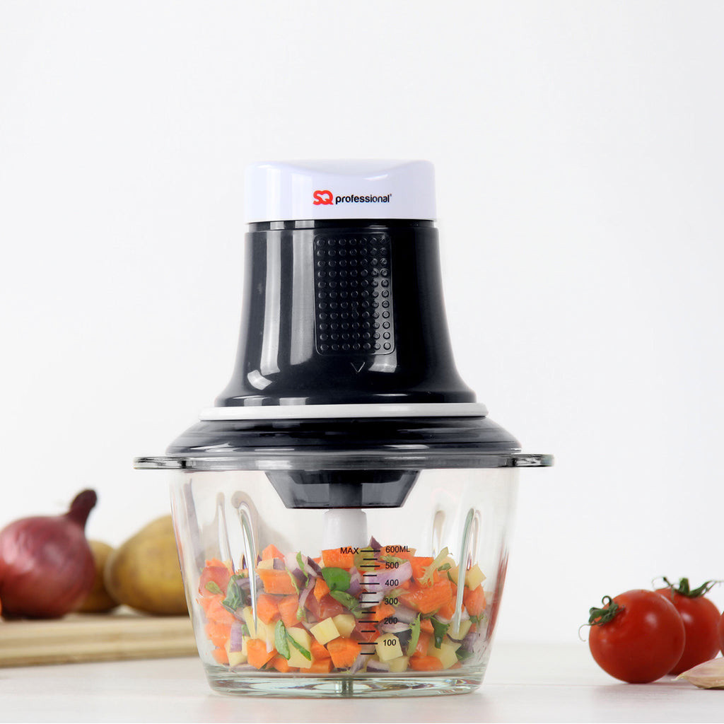 Blitz Chopper - 300 W Mini Food Processor with 0.6 L Glass Bowl & Stainless Steel Blade, Black