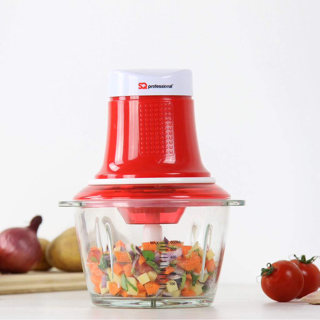 Blitz Chopper - 300 W Mini Food Processor with 0.6 L Glass Bowl & Stainless Steel Blade, Red