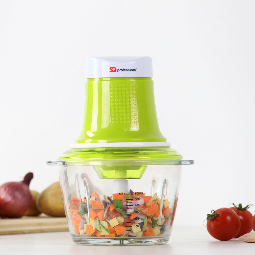 Blitz Chopper - 300 W Mini Food Processor with 0.6 L Glass Bowl & Stainless Steel Blade, Green