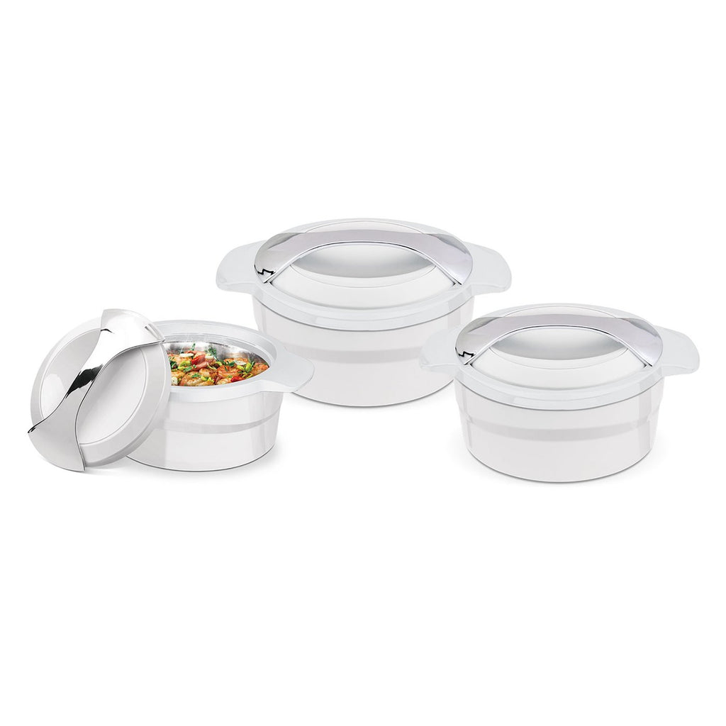 Insulated Serving Dishes - 3 Piece Thermal Hot Food Containers Set 1 L, 1.5 L & 2.5 L - White