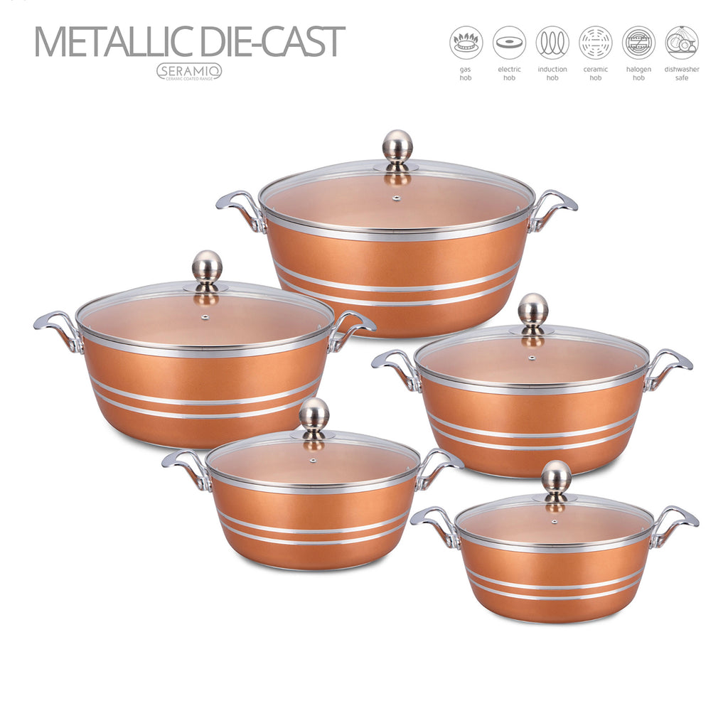 Die-Cast 5 Piece Ceramic Non-Stick Casserole Stockpot Set With Lids, Copper