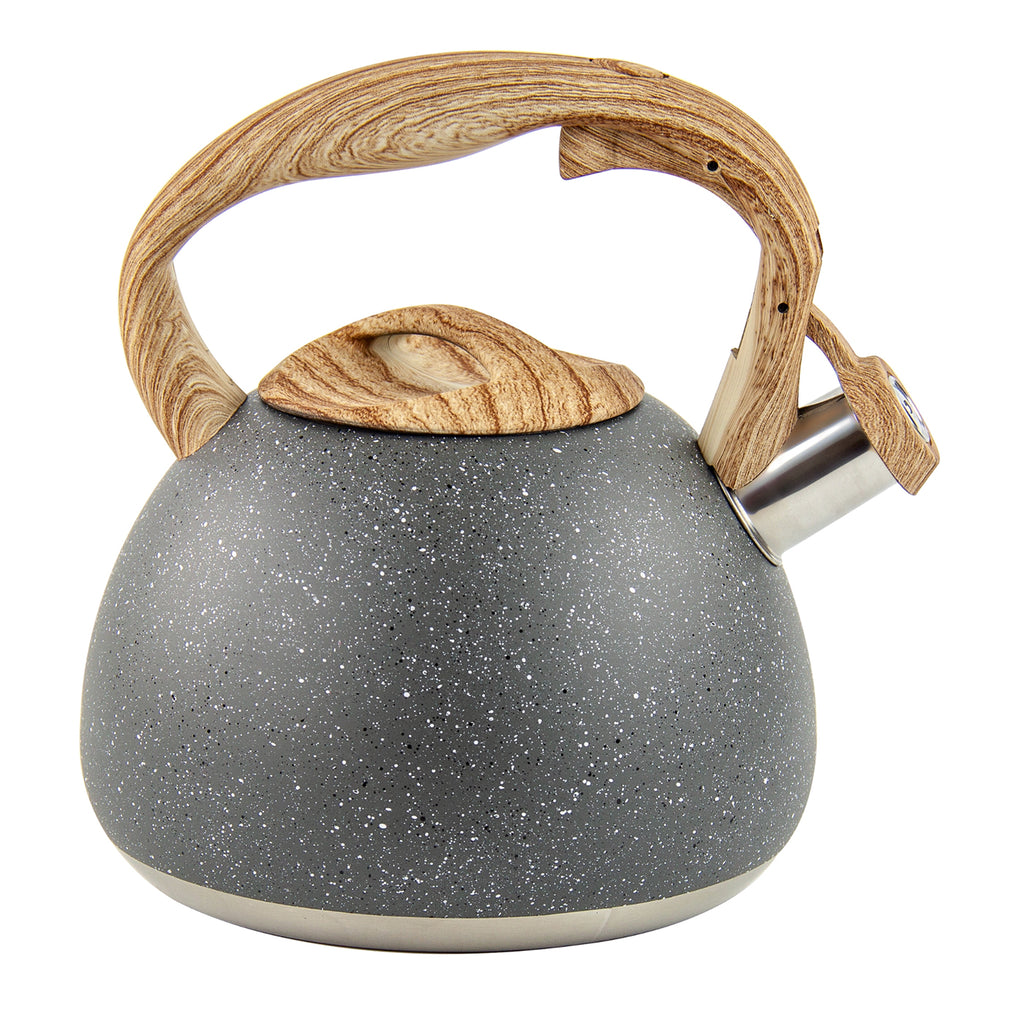 Whistling Kettle in Retro Design Easy Touch Pouring,  2.8L - Grey