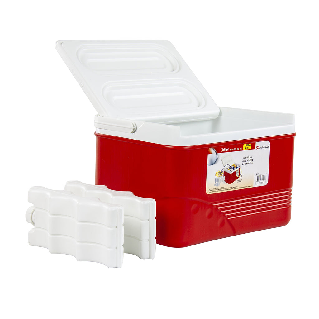 Ice Chest Cooler Box Camping Picnic Insulated Food Container - Red, 14 L