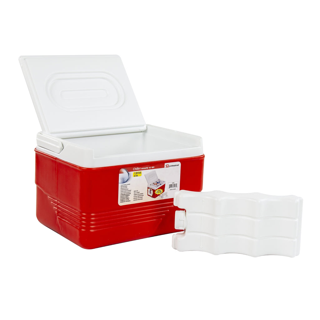 Ice Chest Cooler Box Camping Picnic Insulated Food Container - Red, 6L