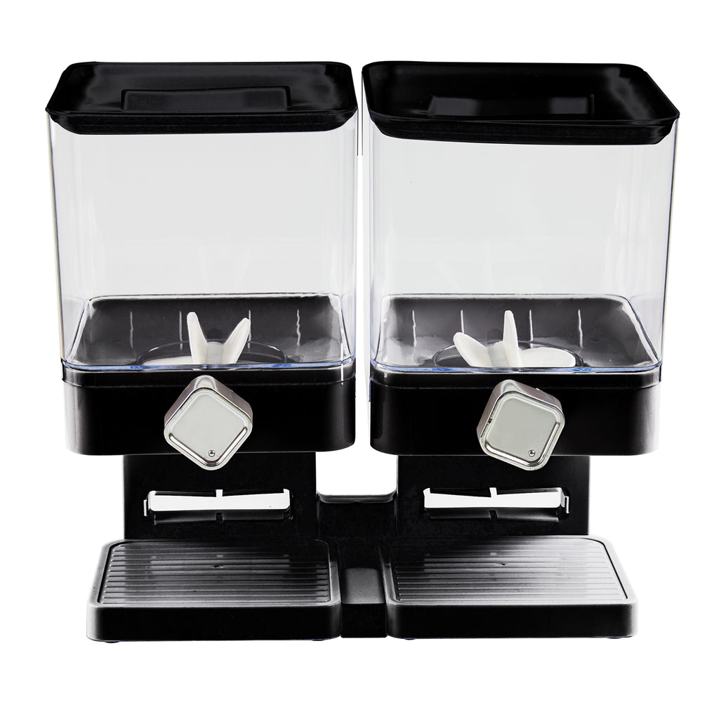Double Square Cereal Dispenser - Two Dry Food Plastic Canisters, Black