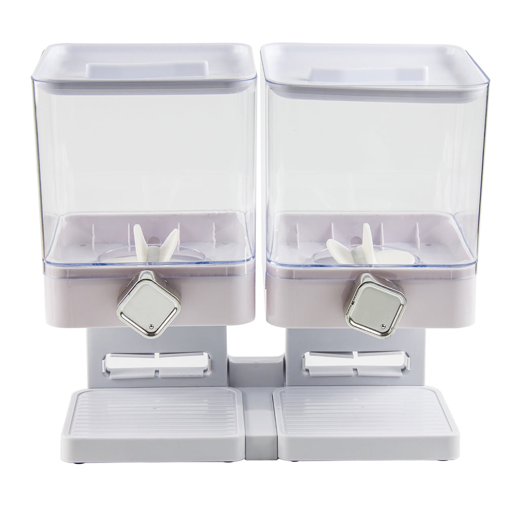 Double Square Cereal Dispenser - Two Dry Food Plastic Canisters, White