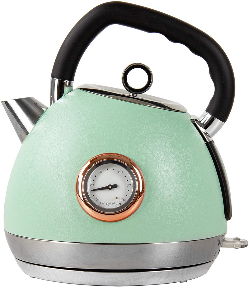 Epoque Electric Kettle Temperature Display - 2200W - 1.8L Stainless Steel, Green