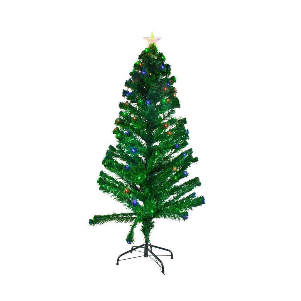 Christmas Tree With LED Lights Artificial Tree With Metal Stand - Green, 150cm