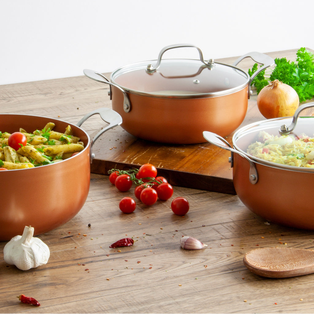 Aeris Non-stick Ceramic Coated Aluminium Casserole Set, Copper - 22-26 cm