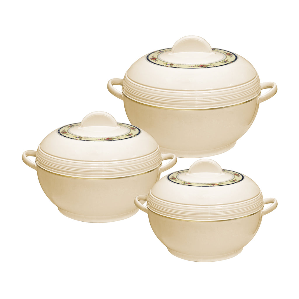Insulated Serving Dishes - Ambiente 3 Piece Thermal Hot Food Containers Set 6 L, 8 L & 10 L, Cream
