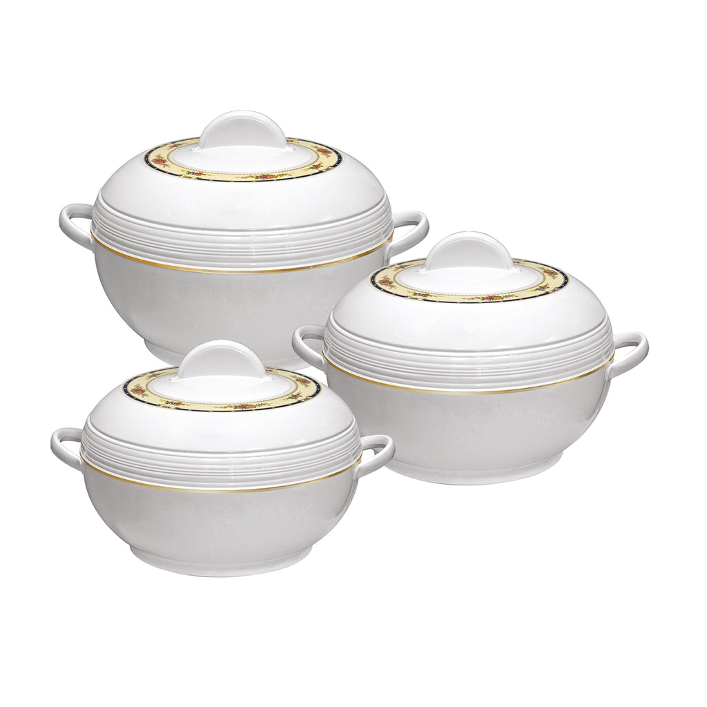 Insulated Serving Dishes - Ambiente 3 Piece Thermal Hot Food Containers Set 6 L, 8 L & 10 L, White