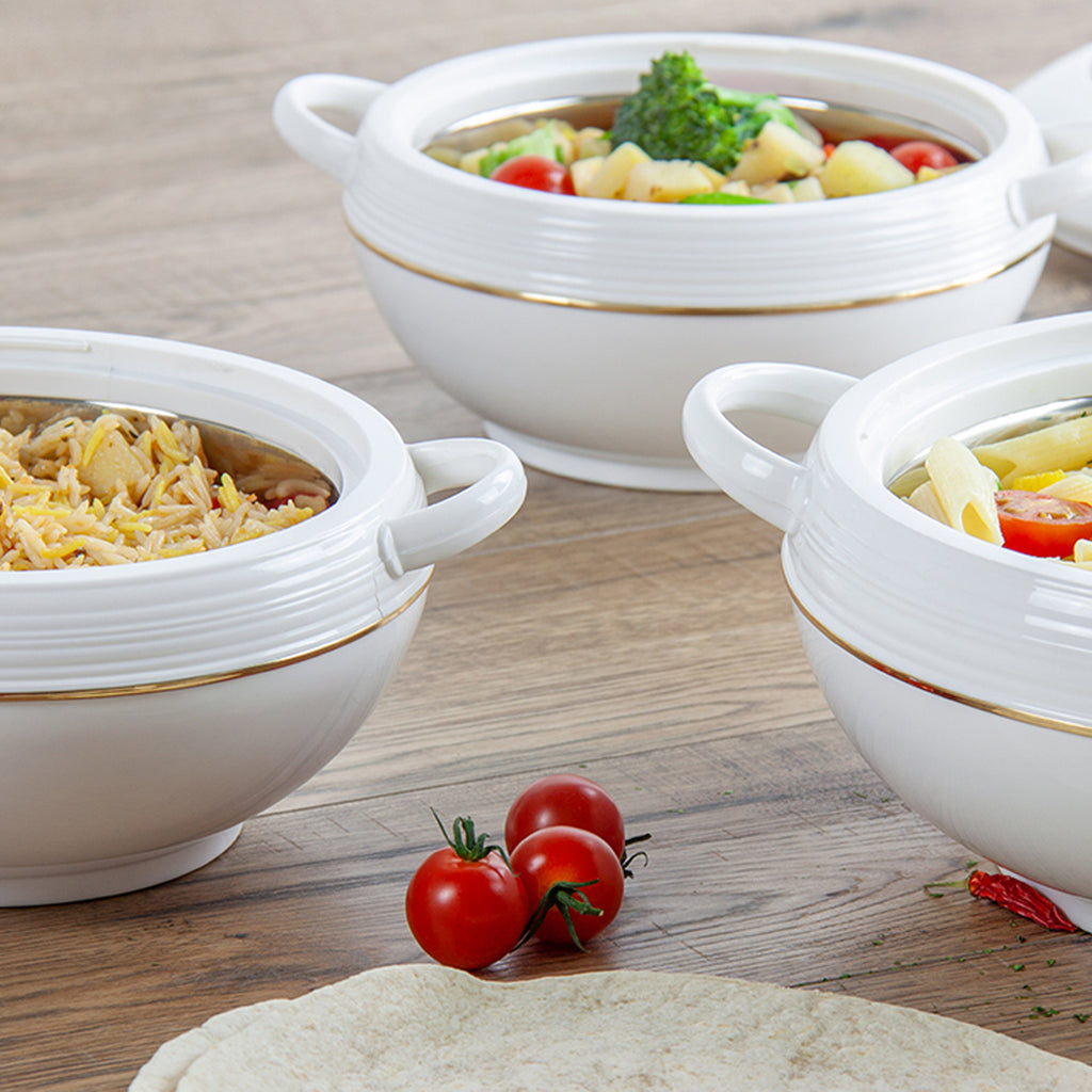 Insulated Serving Dishes - Ambiente 3 Piece Thermal Hot Food Containers Set 1.2 L,1.6 L & 2.5 L, White