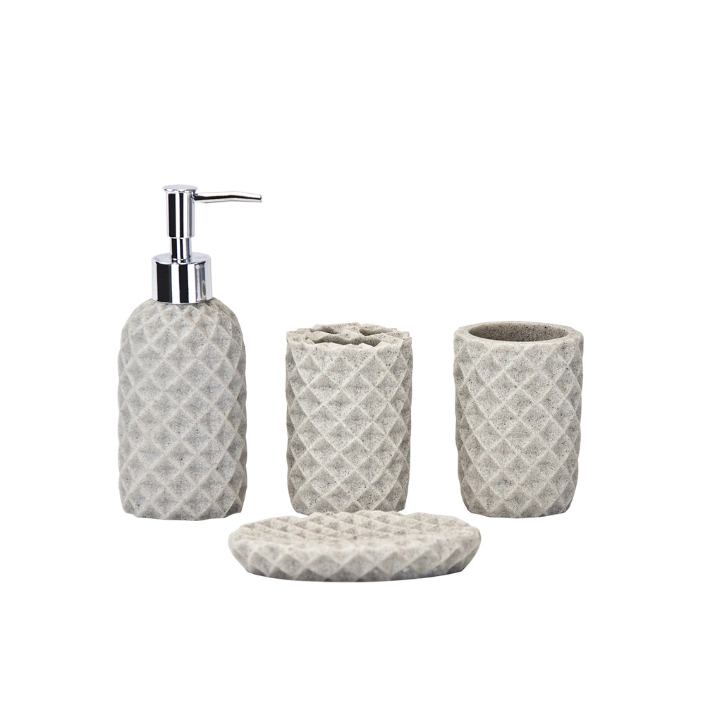 Deluxe Bathroom Accessories Set - 4-piece, Cream