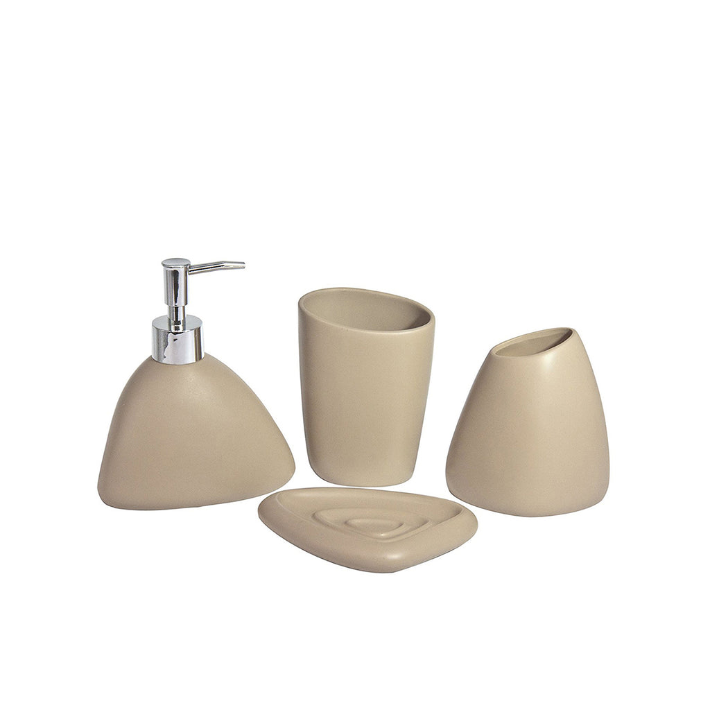 Deluxe Bathroom Accessories Set - 4-piece, Beige