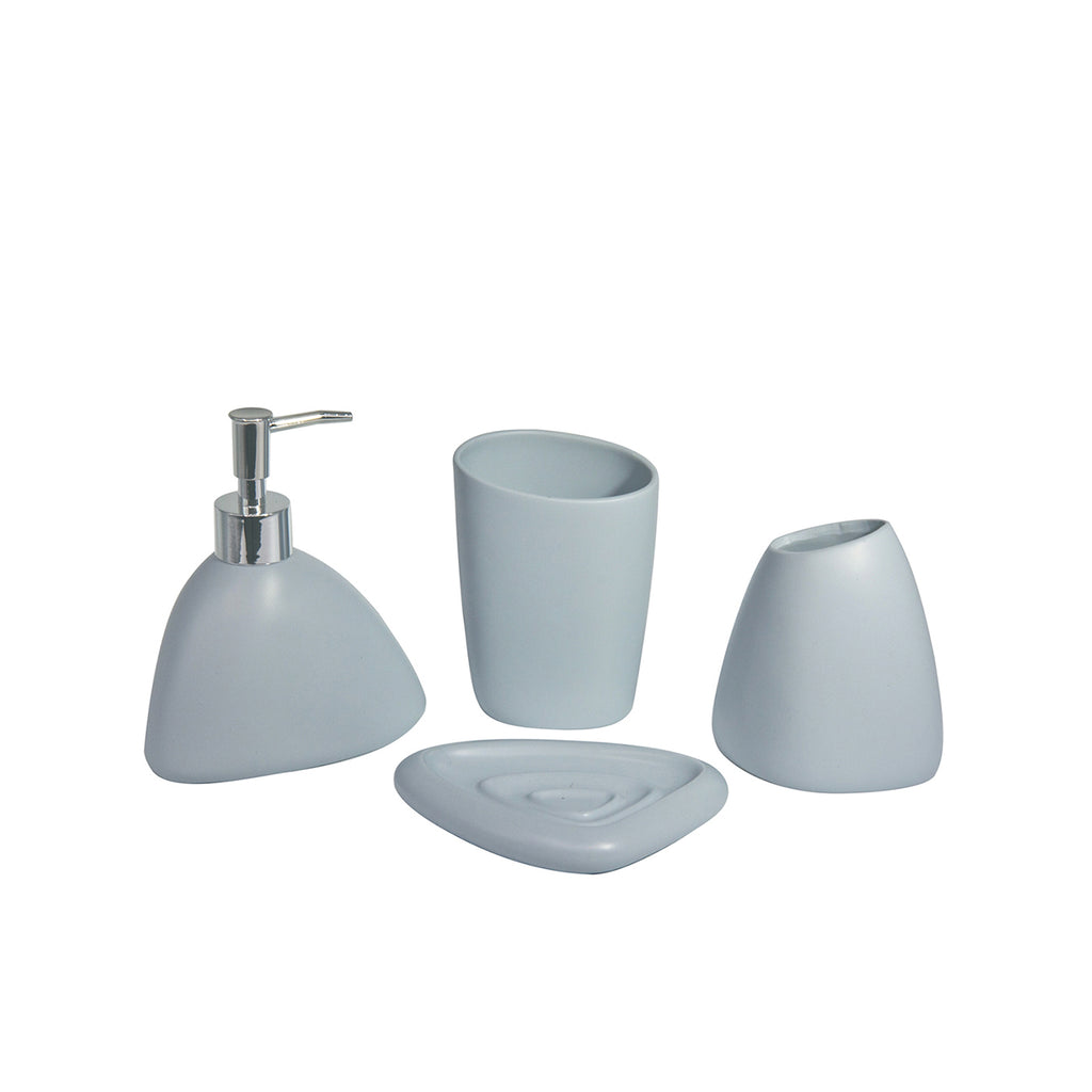 Deluxe Bathroom Accessories Set - 4-piece, Light Blue