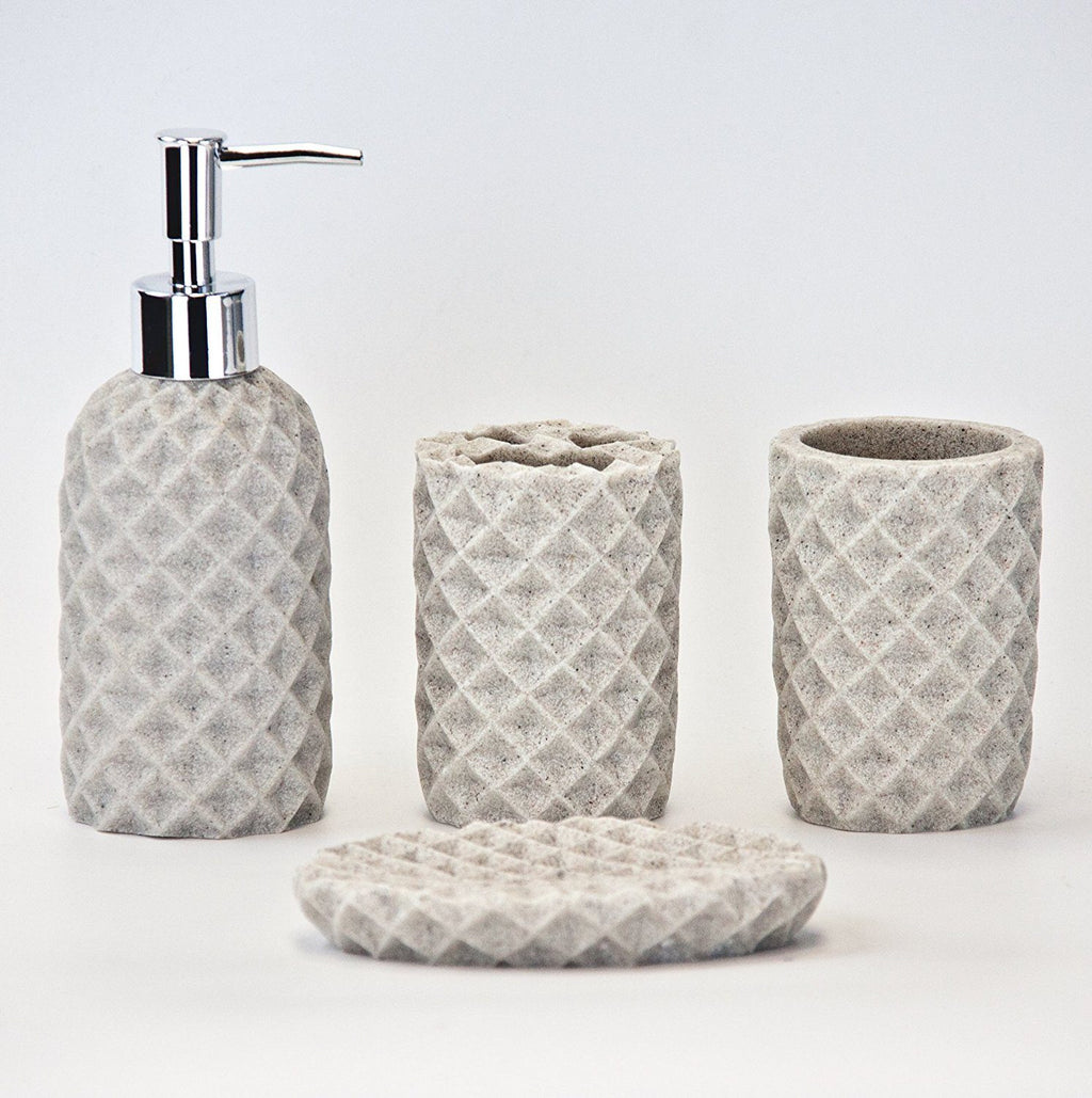 Bathroom Accessory Sets - 4pc Bathroom Accessories Set - Holder, Soap Dish, Dispenser, Tumbler, Cream