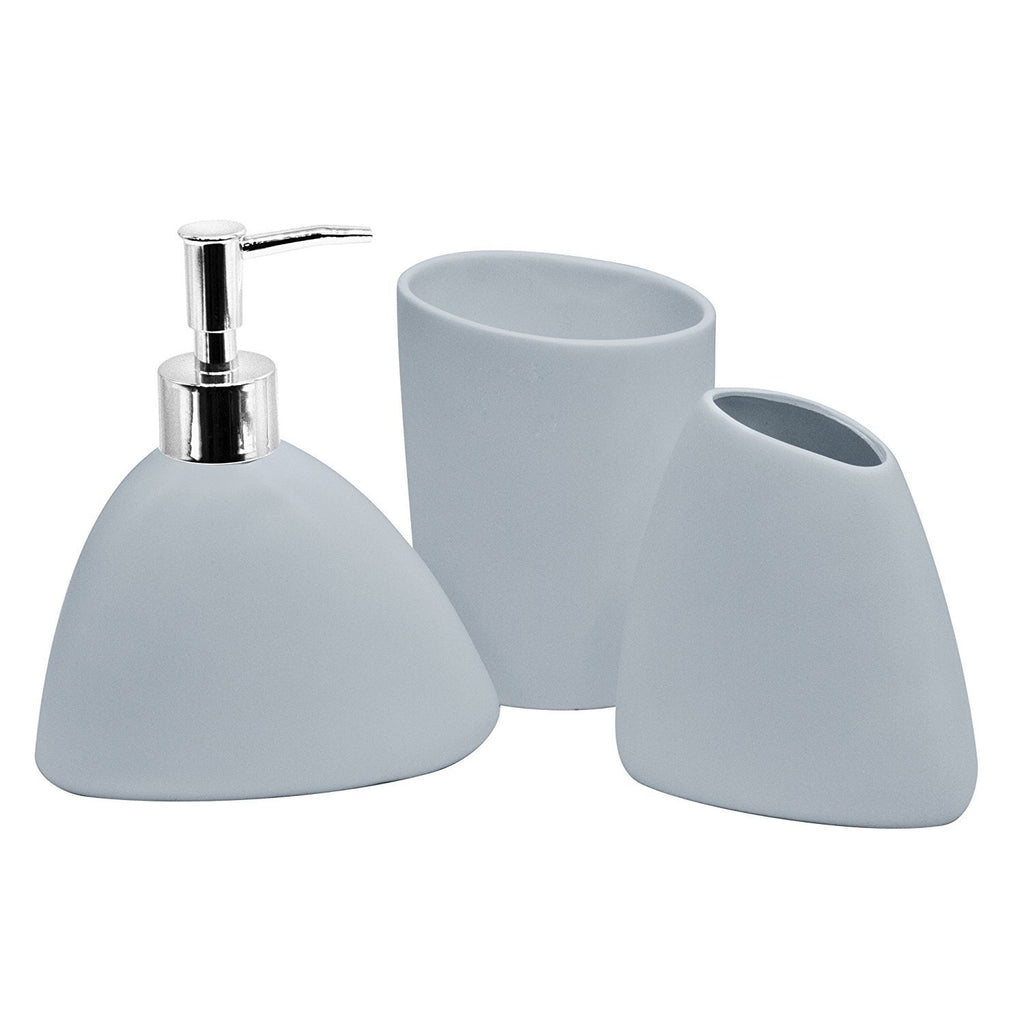 Bathroom Accessory Sets - 4pc Bathroom Accessories Set - Holder, Soap Dish, Dispenser, Tumbler, Light Blue
