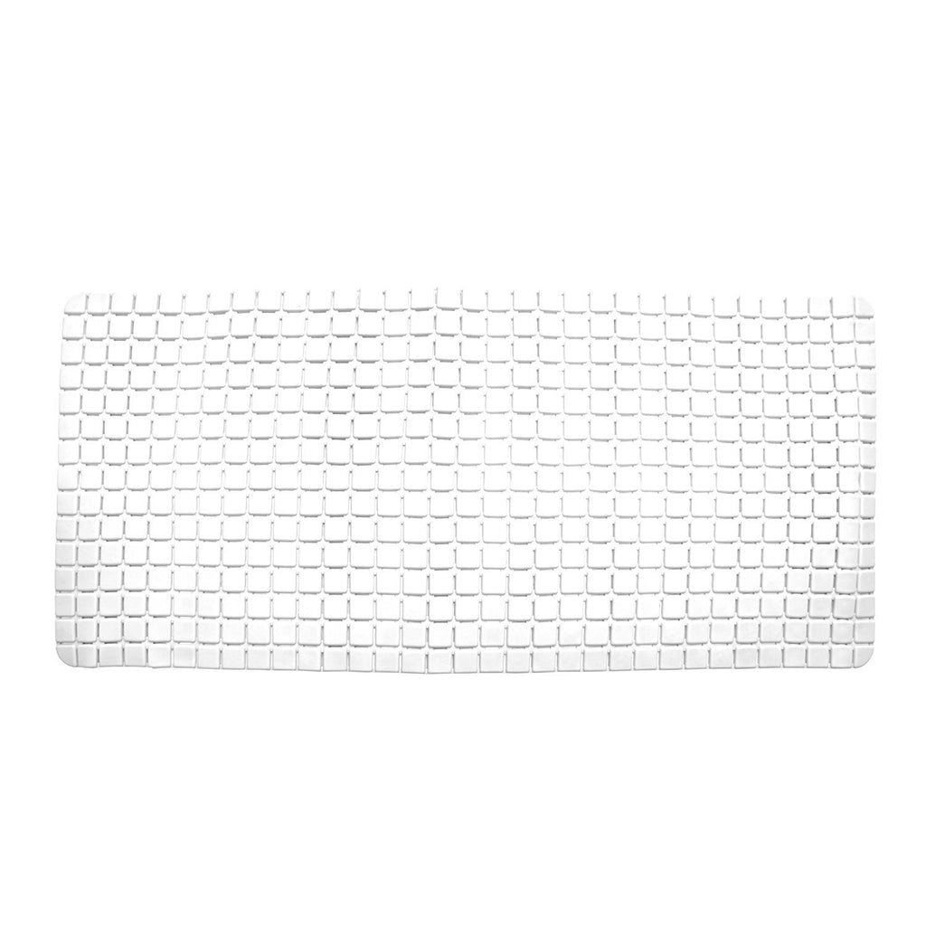Bathroom Mats - Super PVC Rubber Bath Mat Large Size 78 X 35 Cm, White