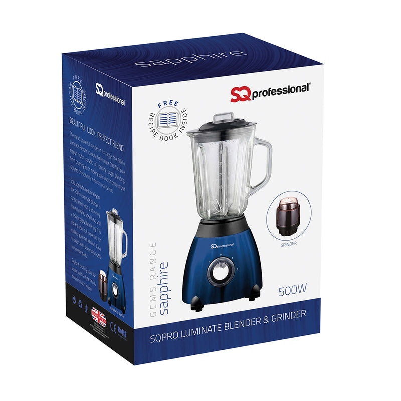 SQ PRO Luminate 500W Blender with 1.5 Litre Glass Measuring Jug and Grinder