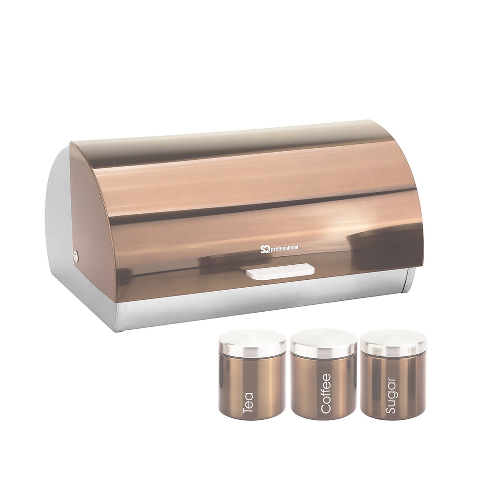 Bread Bin & 3 Coffee, Tea & Sugar Canisters Set, Stainless Steel - Copper Colour