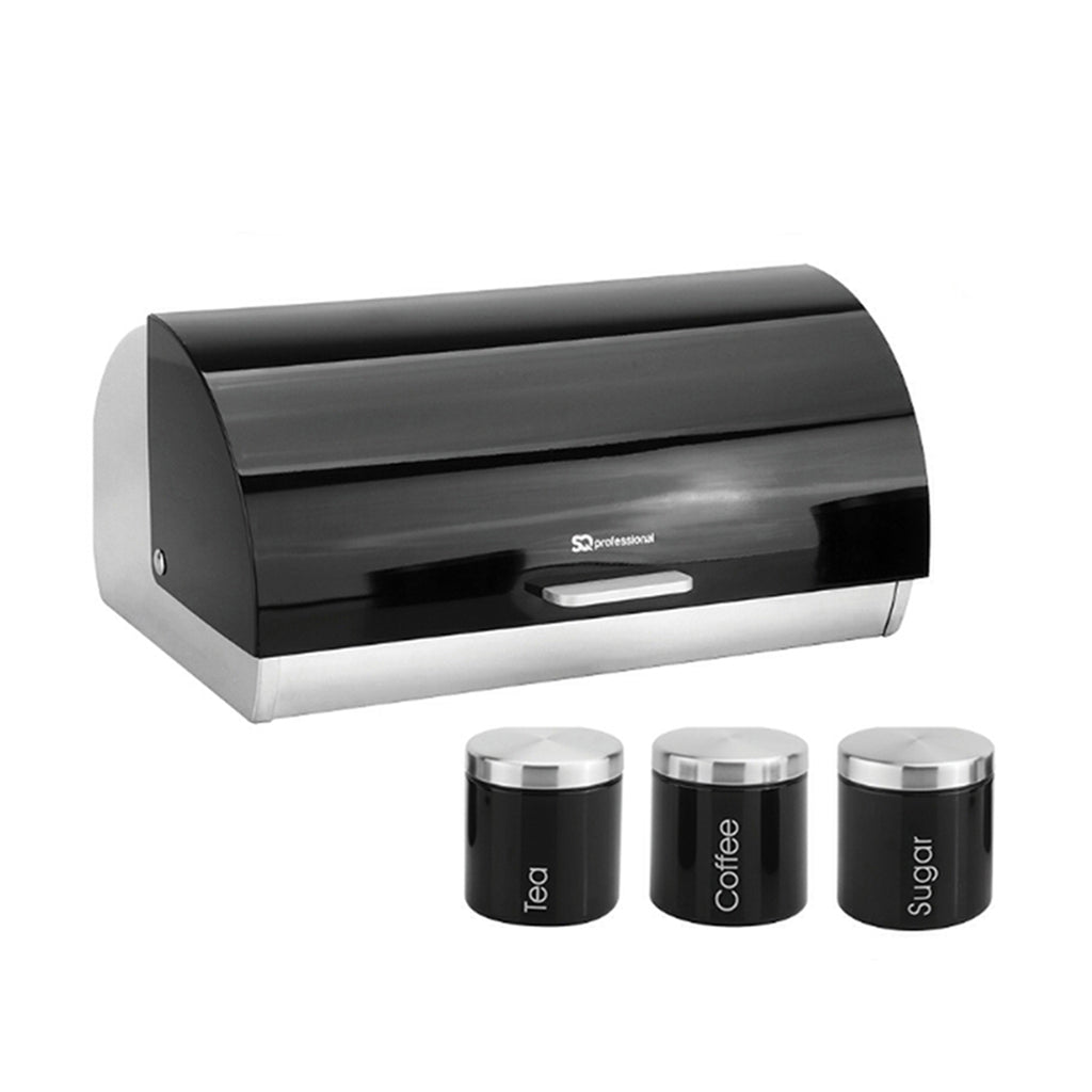 Bread Bin & 3 Coffee, Tea & Sugar Canisters Set, Stainless Steel - Black