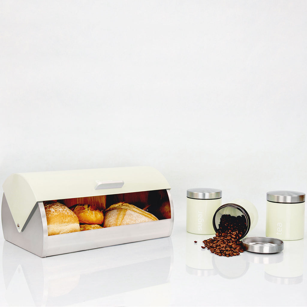 Bread Bin & 3 Coffee, Tea & Sugar Canisters Set, Stainless Steel - Cream