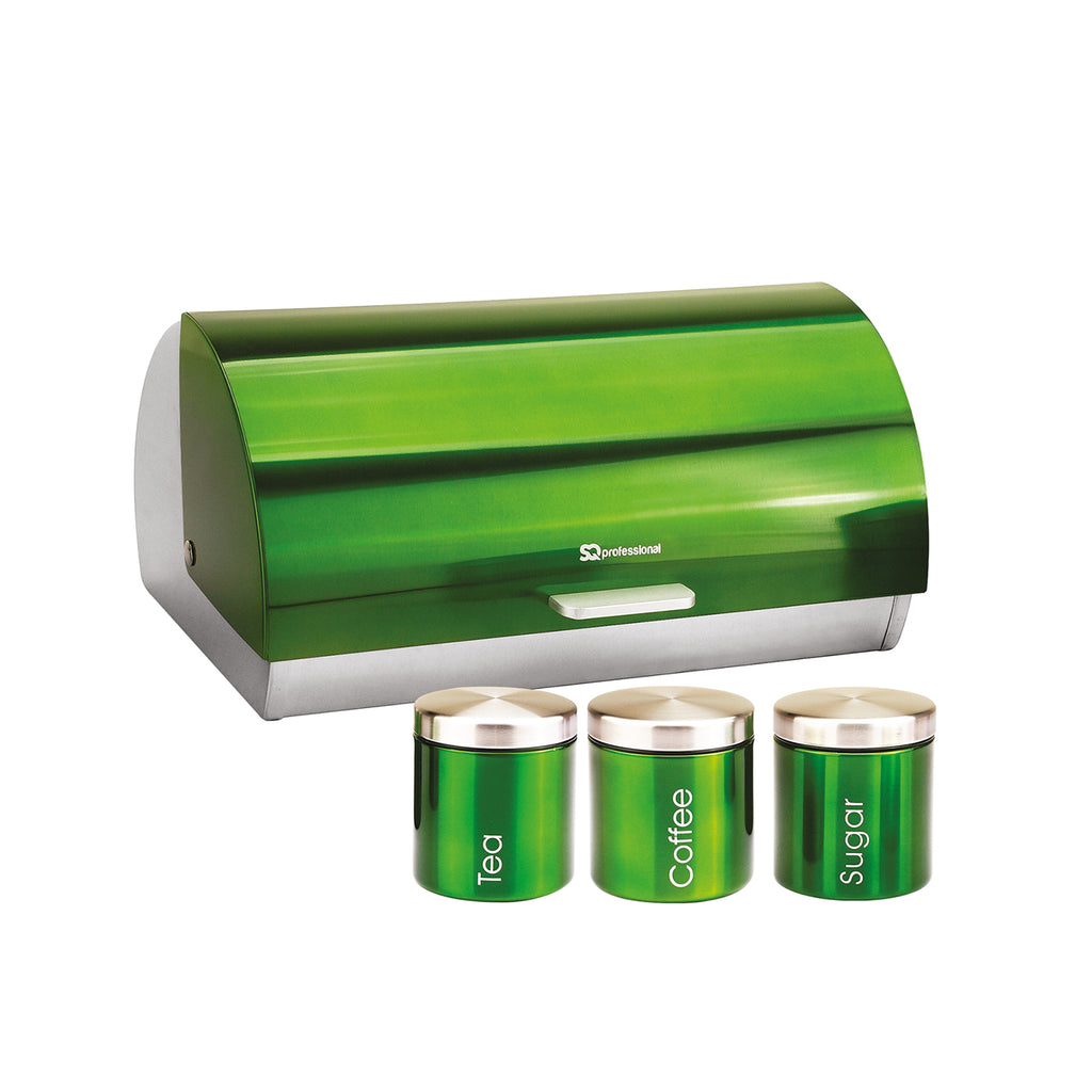 Bread Bin & 3 Coffee, Tea & Sugar Canisters Set, Stainless Steel - Emerald Green