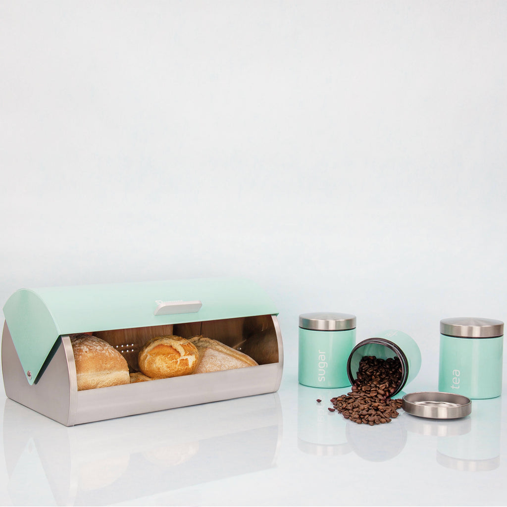 Bread Bin & 3 Coffee, Tea & Sugar Canisters Set, Stainless Steel - Mint Green