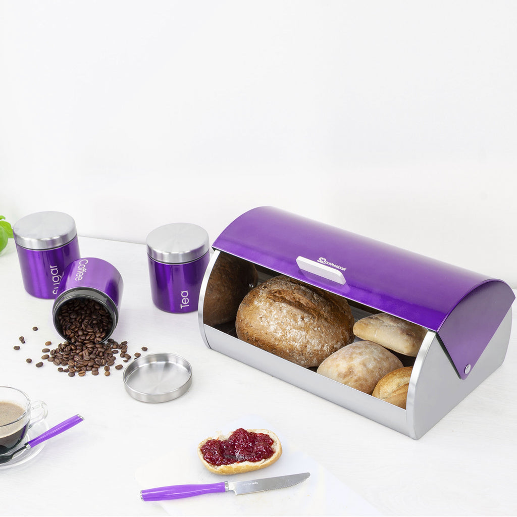 Bread Bin & 3 Coffee, Tea & Sugar Canisters Set, Stainless Steel - Purple