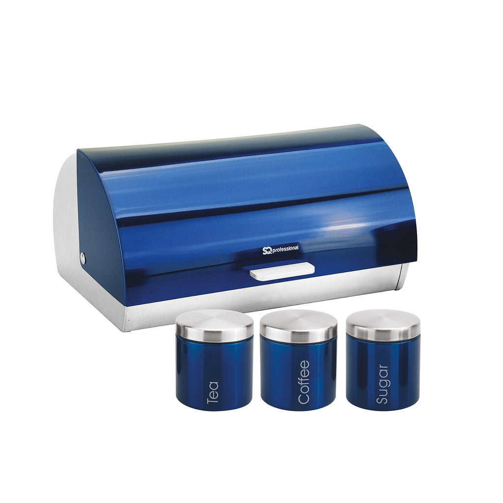 Bread Bin & 3 Coffee, Tea & Sugar Canisters Set, Stainless Steel - Sapphire Blue