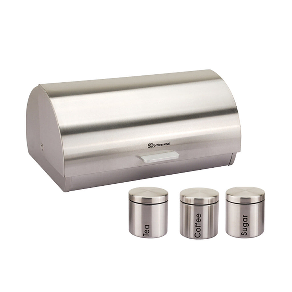 Bread Bin & 3 Coffee, Tea & Sugar Canisters Set, Stainless Steel - Silver