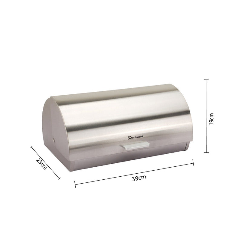 Bread Bins - Bread Bin & 3 Coffee, Tea & Sugar Canisters Set, Stainless Steel - Silver