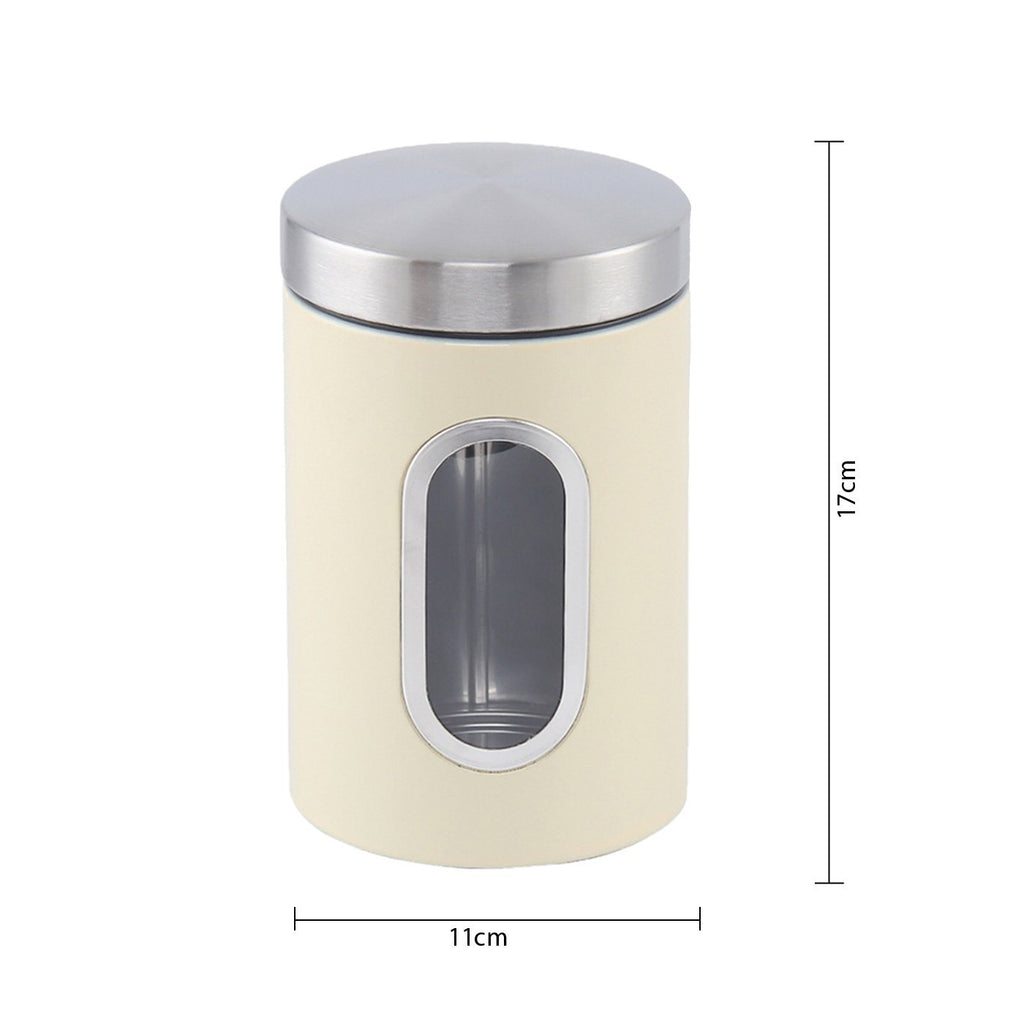 Canisters - Stainless Steel Canister Set 3 Pcs, 1.2L With Window, Cream