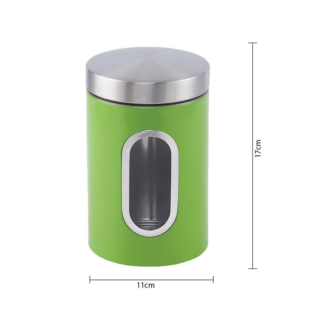 Canisters - Stainless Steel Canister Set 3 Pcs, 1.2L With Window, Green