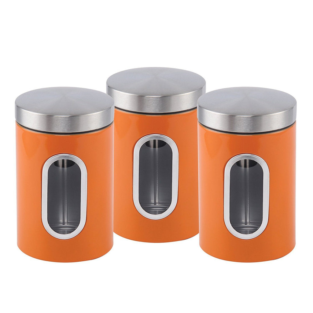 Canisters - Stainless Steel Canister Set 3 Pcs, 1.2L With Window, Orange