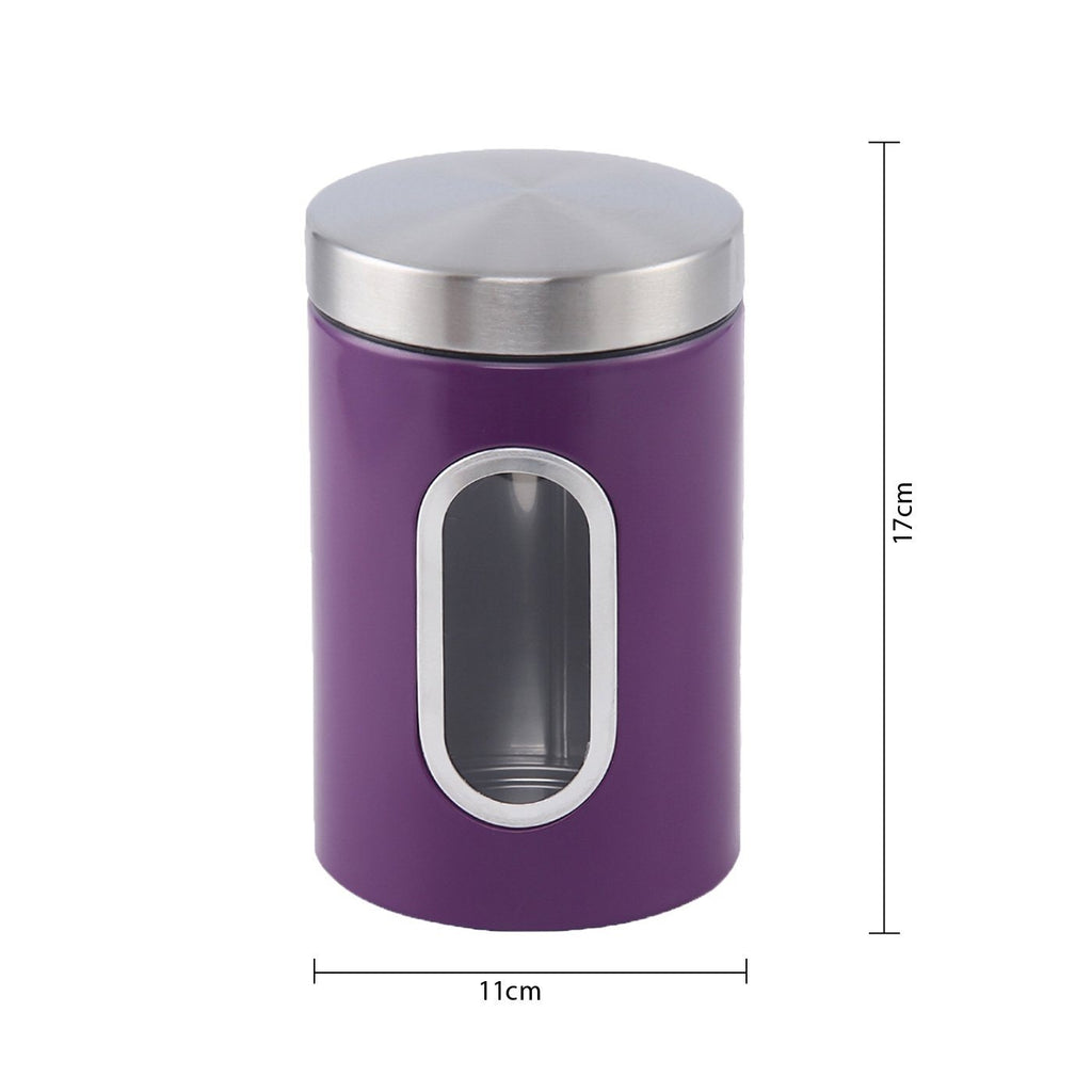Canisters - Stainless Steel Canister Set 3 Pcs, 1.2L With Window, Purple