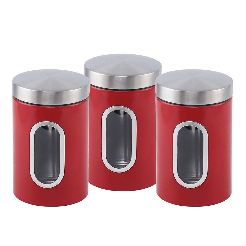 Canisters - Stainless Steel Canister Set 3 Pcs, 1.2L With Window, Red