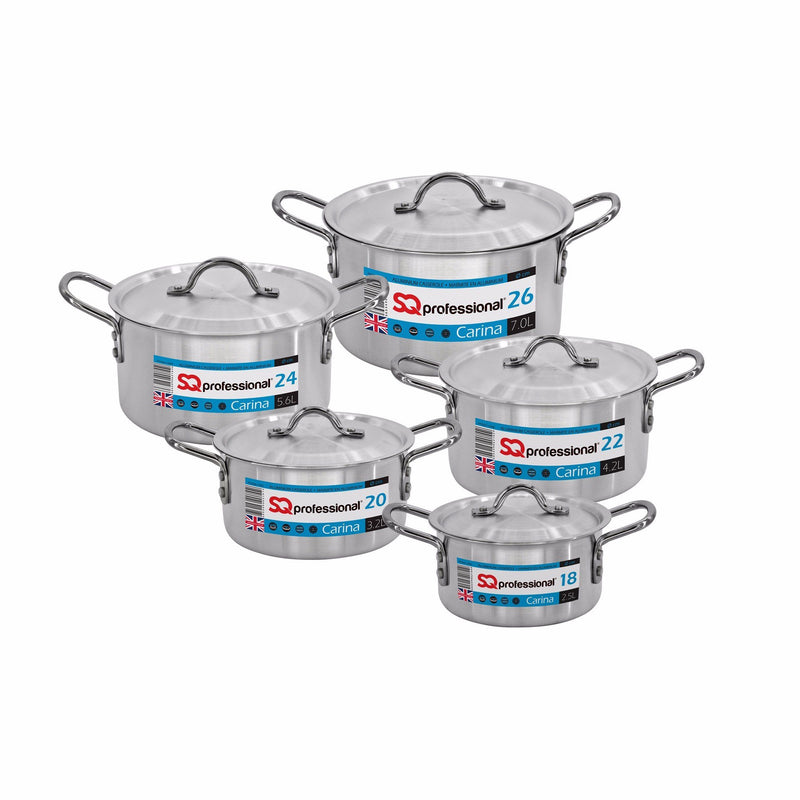 Casseroles - Carina Aluminium Casserole Set 5pc Stockpot Set With Lids 18-26cm - Silver