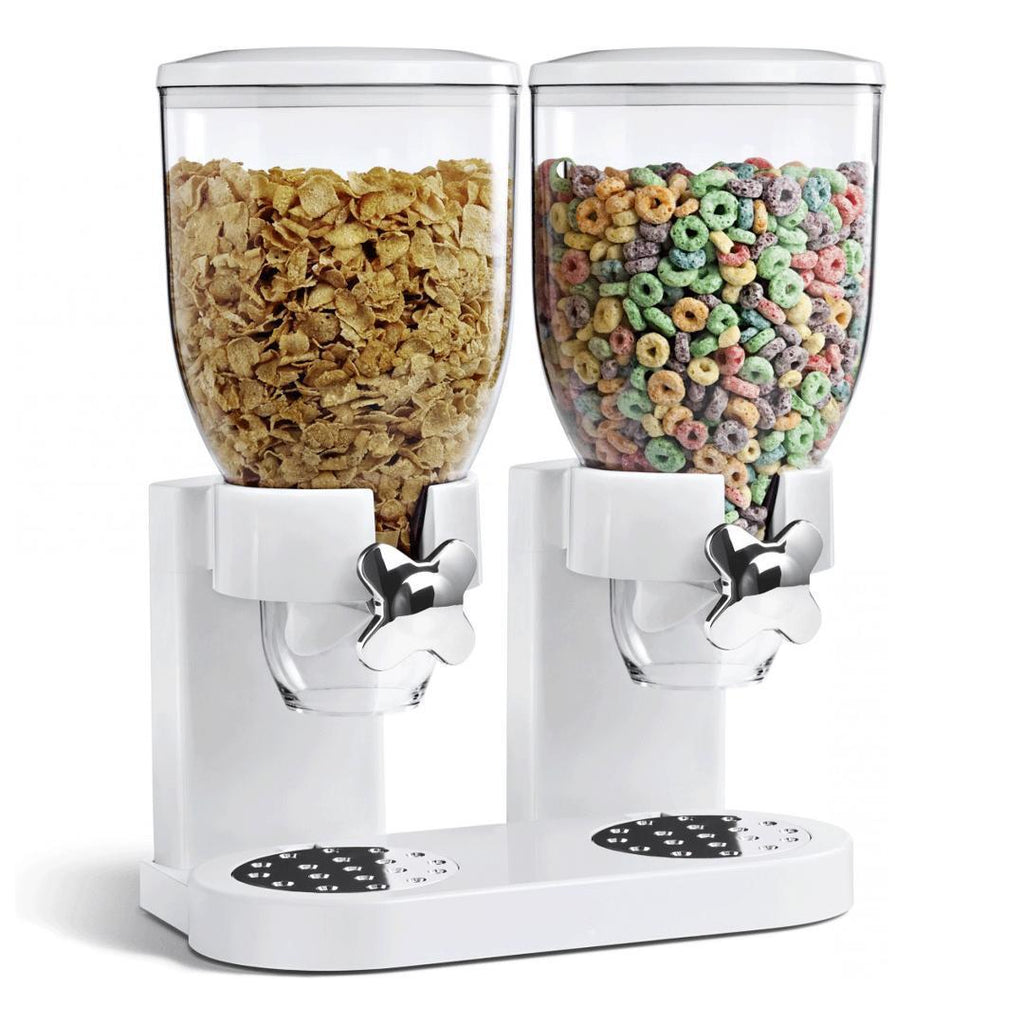 Double Cereal Dispenser - Two Dry Food Plastic Canisters With Stand, White
